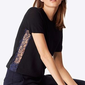 Tory Burch Ruby Sweater with Lace Inset